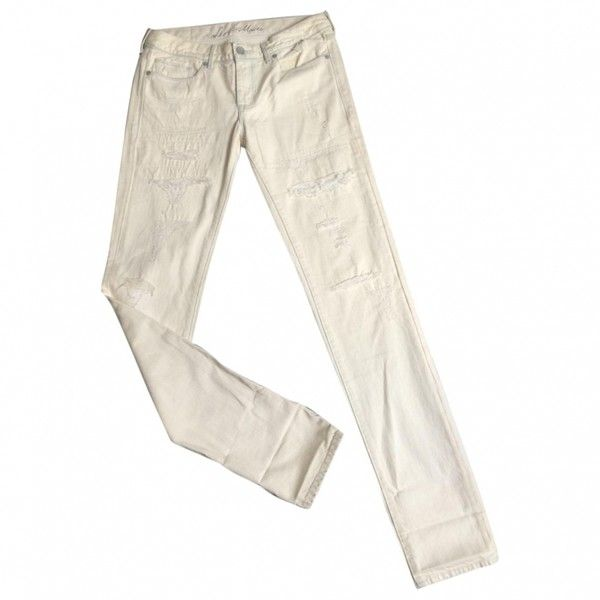 White Denim Jeans Trousers LEVI'S ($81) ❤ liked on Polyvore featuring pants, levi pants, levi trousers, white trousers, white pants and levi's