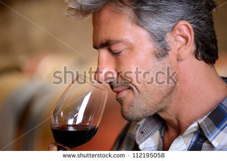 Closeup on winemaker smelling red wine in glass - stock photo