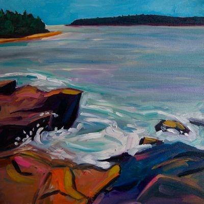 Lil Splash on Pink Granite - 10x10 - oil on canvas - $135