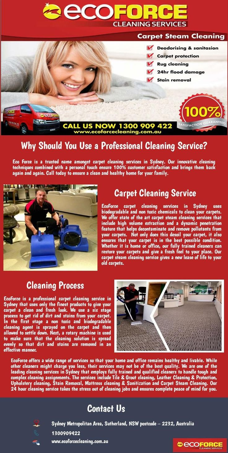 Eco Force is a trusted name amongst carpet cleaning services in Sydney. Our innovative cleaning techniques combined with a personal touch ensure 100% customer satisfaction and brings them back again and again. Call today 1300 909 422 to ensure a clean and healthy home for your family. To know more click here http://www.ecoforcecleaning.com.au/