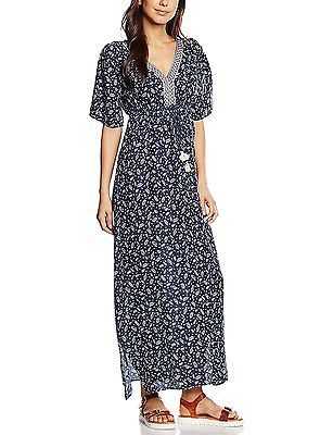 34, Multicolor(Navy/White), Springfield Women's 3.Frq.Vestido Largo Tape Dressed