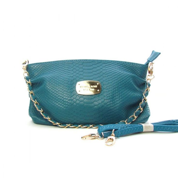 Michael Kors Large Python-Embossed Clutch CadetBlue