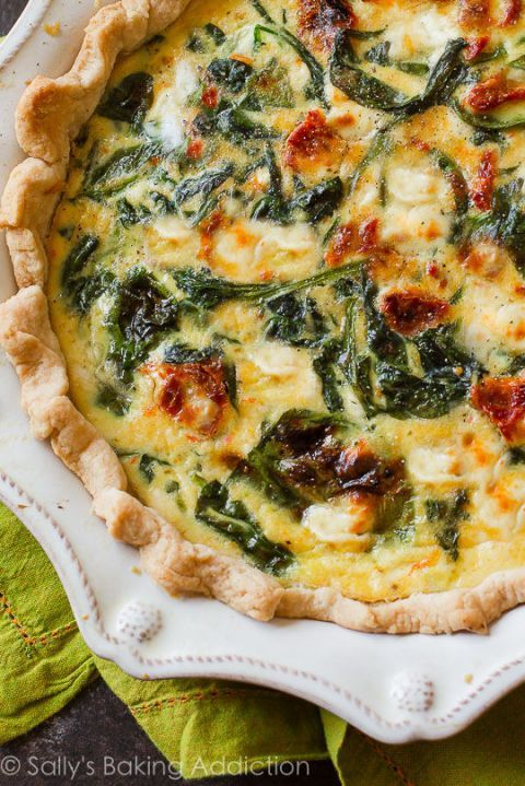 This mix of tangy goat cheese, spinach, and sun-dried tomatoes is a flawless combination for a fluffy quiche. Get the recipe at Sally's Baking Addiction.