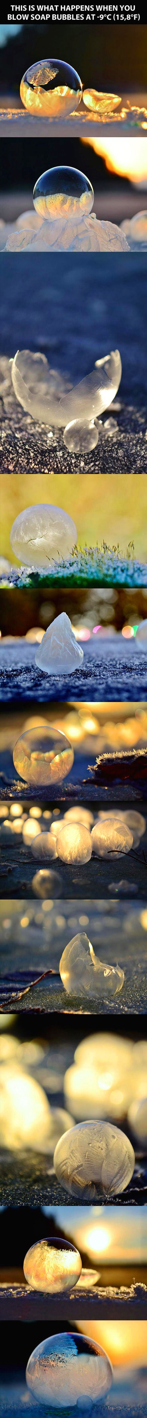 Blowing frozen bubbles.