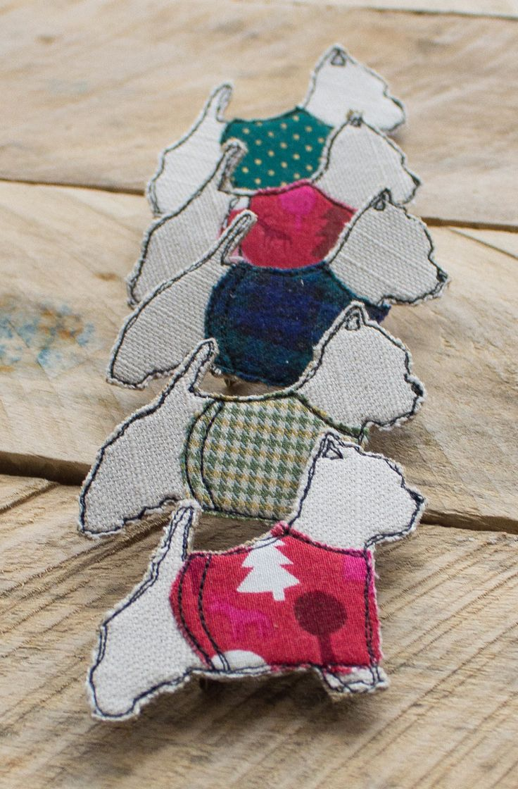 Textile Westie Dog Brooches made by me