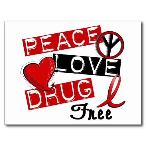 drug free awareness | Peace Love Drug Free Post Cards