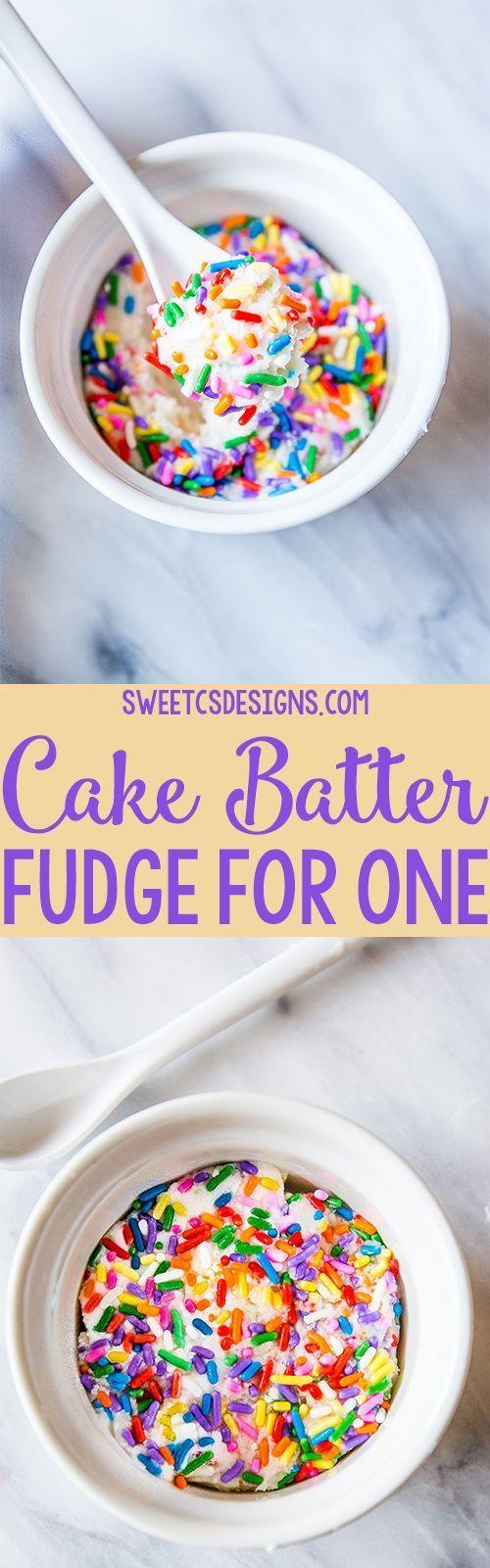 Cake Batter Fudge For One