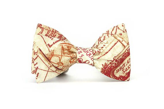 Mens bow tie Red Map pattern Cotton men's self tied Bow