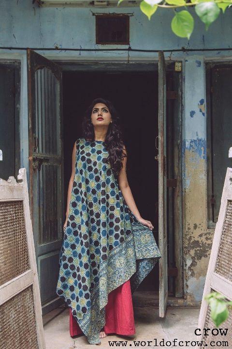 Asymetrical Ajrakh dress