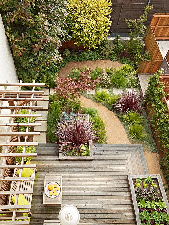 977 best small yard landscaping images on pinterest for Low maintenance deck plants
