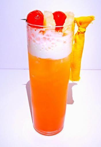 """The Penalty Flag"" - Ciroc Pineapple, Bacardi Pineapple, Pineapple Juice, Maraschino Cherry Juice, Pineapple Wedge(s), Maraschino Cherry. #Cocktails #Drinks #SuperBowl"