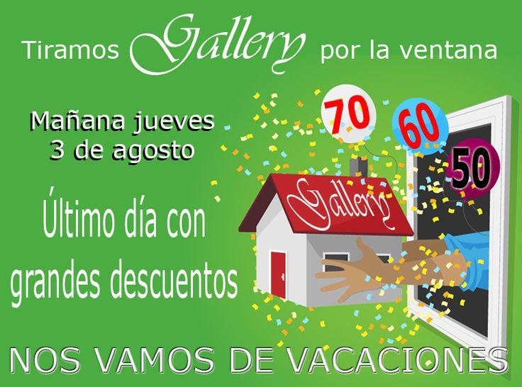 Mañana último día con grandes DESCUENTOS, nos vamos de VACACIONES, volveremos con las pilas recargadas el 28 de agosto. Seguiremos conectados en las principales REDES SOCIALES, en www.gallerymoda.es y en www.mitiendademoda.es. #Verano #Vacaciones #Tiendaonline #EnvíosGratis #Murcia #Gallerymoda #Mitiendademoda #NewColecction
