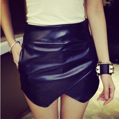 Irregular Winter Pu Pu Sexy Leather Mini Skirt on Luulla