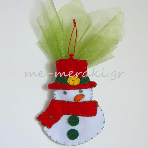Handmade mpomponiera Me Meraki Mpomponieres Χειροποίητη μπομπονιέρα βάπτισης, χιονάνθρωπος τσόχα στολίδι κρεμαστό για το χριστουγεννιάτικό δέντρο. Με Μεράκι Μπομπονιέρες www.me-meraki.gr Μπομπονιέρα Βάπτισης  ΥΦ067-Δ