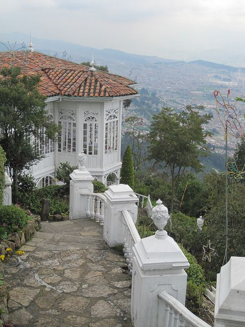 Monserrate is a beautiful church that overlooks the city of Bogota. High up in the mountains, it not only offers spectacular views if you go up to visit it, it also looms large over much of the city, offering as it does a focal point for meandering walks.