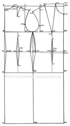 disegnare un cartamodello base passo passo  BELLO!!!