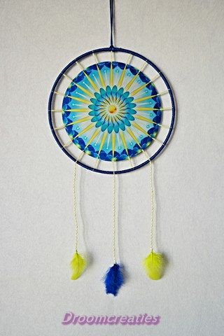 Mandala dreamcatcher Sunshine with beads by Droomcreaties on Etsy, €34.95