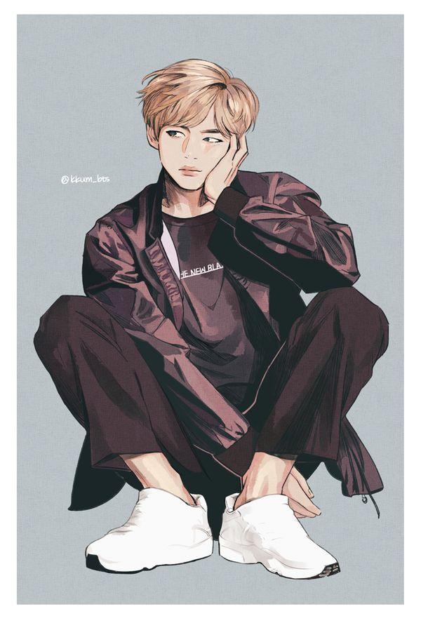 BTS Fanart || Kim Taehyung (V) ¿Qué tengo que hacer para dibujar así? ¿Venderle mi alma a Milhouse? Créditos en la imagen.