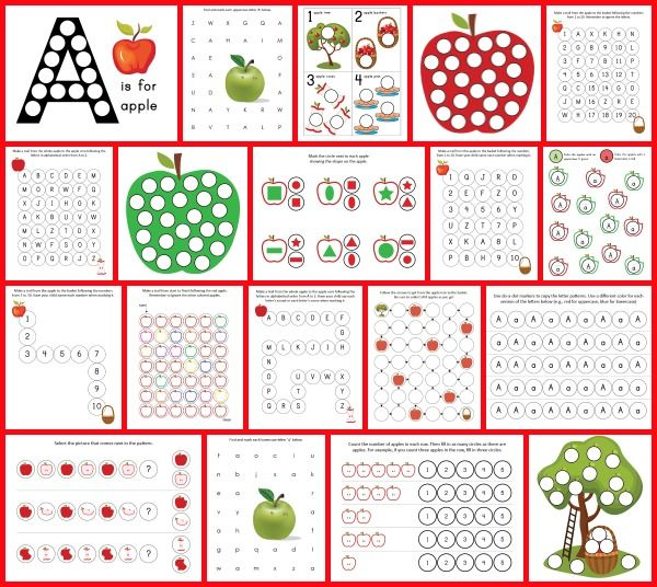 Apple Do-a-Dot Printables : Kids work, Worksheets and Numbers