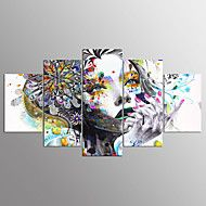 Stretchad+Kanvastryck+Abstrakta+porträtt+Moderna,Fem+paneler+Kanvas+vilken+form+som+helst+Tryck+väggdekor+For+Hem-dekoration+–+SEK+Kr.+1,326