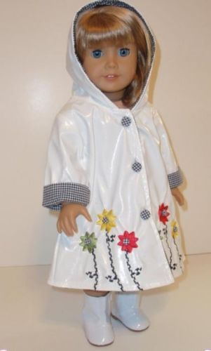 "EMBROIDERED RAINCOAT WITH HOOD - 18"" Girl Doll Clothes - An American Boutique"
