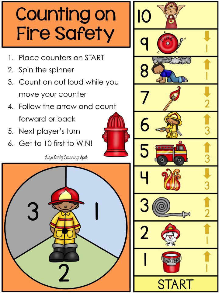 """Fire Safety Activities: FREE """"Counting On"""" Fire Safety Game Board. Blog article: How to use Board Games to Maximize Math Skills - From Liz's Early Learning Spot."""