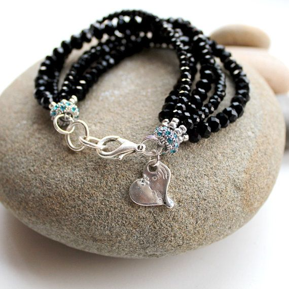 Black Multi strand bracelet with Heart Charm by AlixHDesigns, $25.00