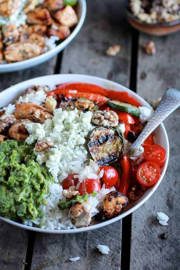 30 Minute California Chicken, Veggie, Avocado and Rice Bowls