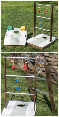 2-in-1 Outdoor Games: Add some fun to your outdoor living with this clever combination of two popular outdoor games. With the uprights installed, you can play ladder ball. Remove the uprights and flip down the legs, and you're ready for the fun of bean-bag toss! Find the FREE project plan and many others at buildsomething.com