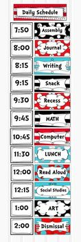 Dr Seuss Inspired Class Daily Schedule Pocket Chart Cards