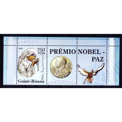 Guine Bi. MNH + Label, Mother Teresa, Nobel Peace