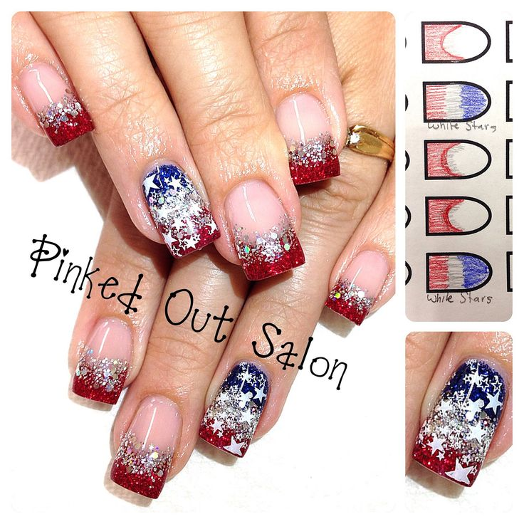 Nail Tip Designs Ideas french tip nails with glitter nails pinterest beautiful brides and is beautiful 59 Fantastic Bright Summer And Fourth Of July Nail Design Ideas