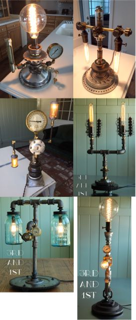 Made from premium recycled parts, this pipe lamp looks great on any work desk or home table. Custom made, no two lamps are the same. Reclaimed items from junkyards, scrapyards and the like. Comes with your choice of light bulb(s). (Options will be emailed once payment is confirmed.) Sales tax included in price. Please allow 1-2 weeks before shipping as we don't always have enough custom parts on hand. Shipping not included.