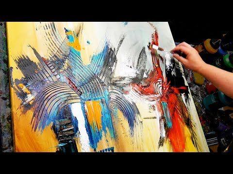 Démonstration Peinture Abstraite - Pâte de texture, Pinceaux et couteaux à palettes - Stripe - YouTube