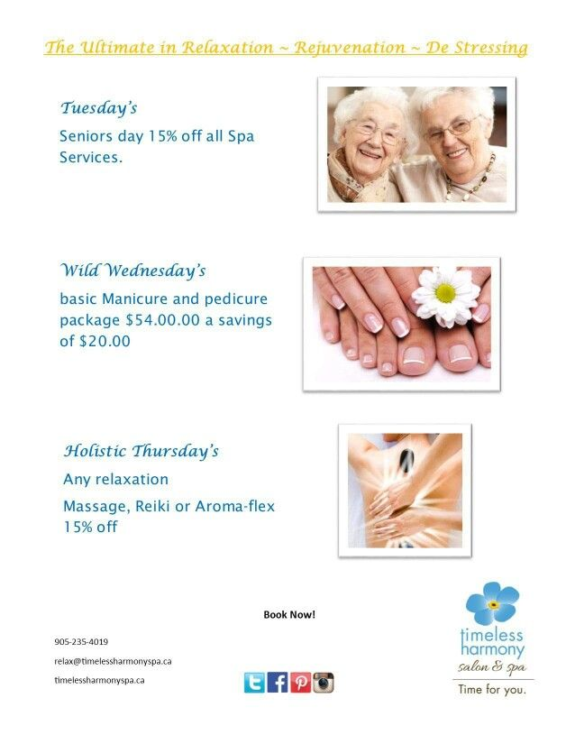 Mid week specials at Timeless Harmony Salon & Spa Time For You!