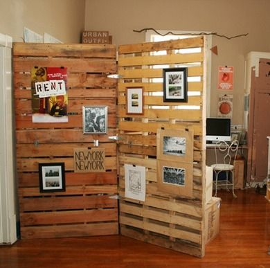 DIY rustic room divider. Make shift walls/room divers out of discarded wooden pallets! Get them for free at pretty much any furniture or craft store.