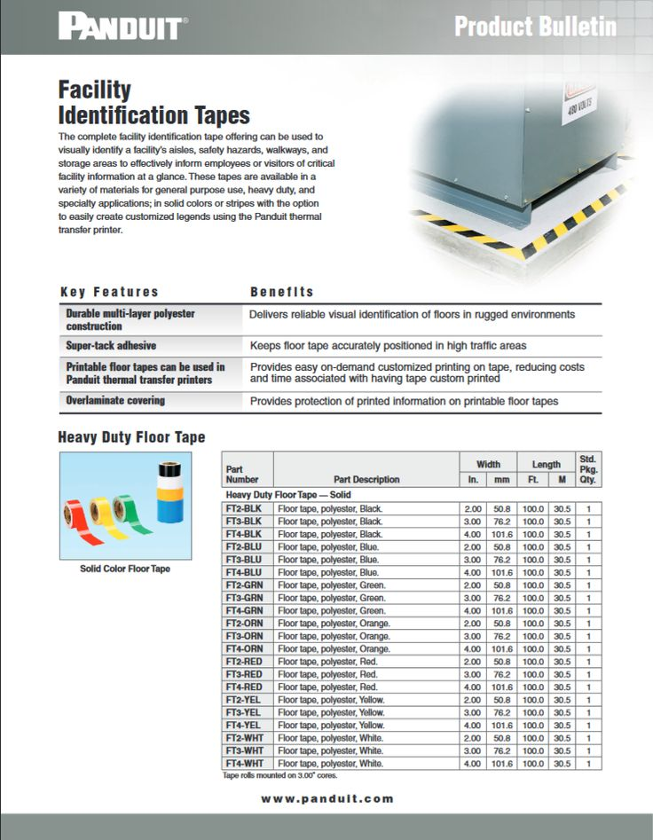 "Panduit Facility   Identification Tapes ""SFCB04--WW-ENG"" 10.2016 http://www.panduit.com/heiler/ProductBulletins/D-SFCB04--WW-ENG-FacilityIDTapes-W.pdf"