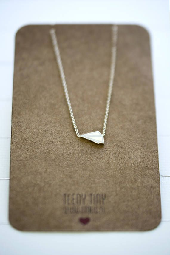 Teeny Tiny Paper Airplane White // Silver Airplane Necklace // Origami Necklace