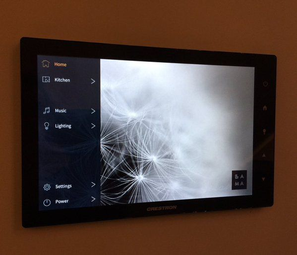 Crestron custom design interfaces for home automation system.