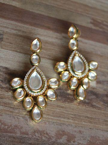 Gold finish long Kundan earrings – Sweta Sutariya
