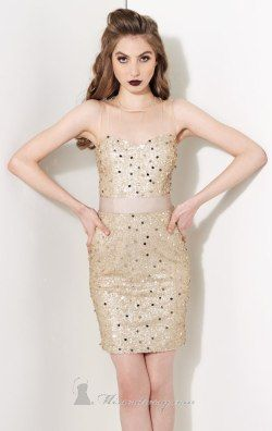 Sequined High Neckline Dress by Kathy Hilton H31093