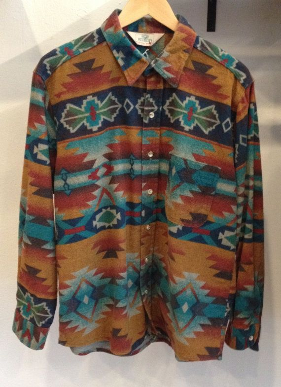 Vintage Aztec Men's Flannel Button Down Shirt