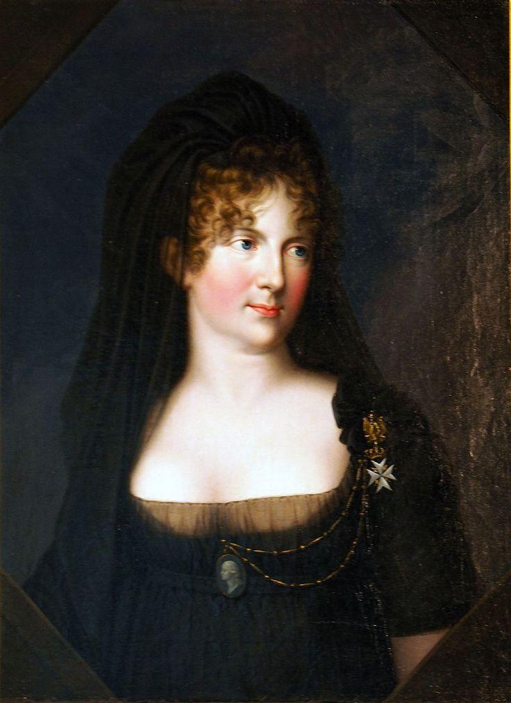 Maria Fjodorowna als Witwe, sie trug immer eine Kamee ihres verstorbenen Ehemanns an ihrer Kleidung