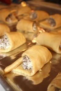 Sausage, cream cheese, crescent rolls This is my go to recipe when in a rush.  Everyone loves this recipe.