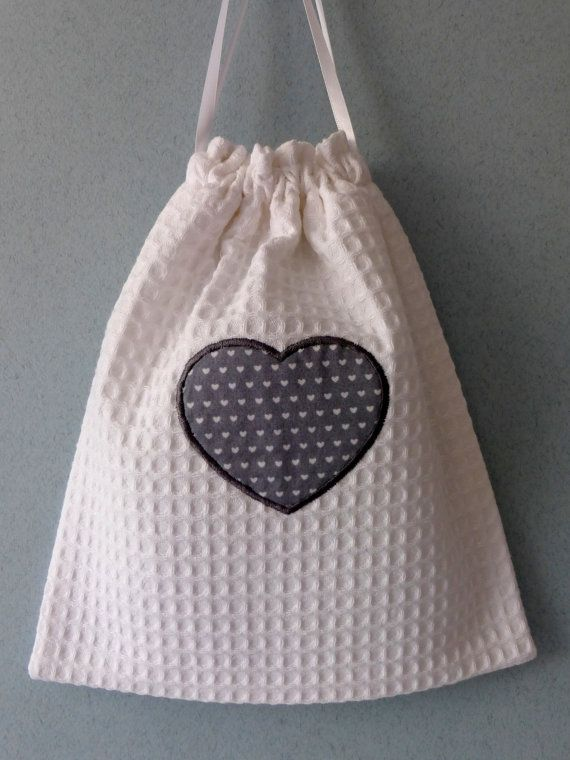 White Cotton drawstring bag with grey heart print by anniewillows