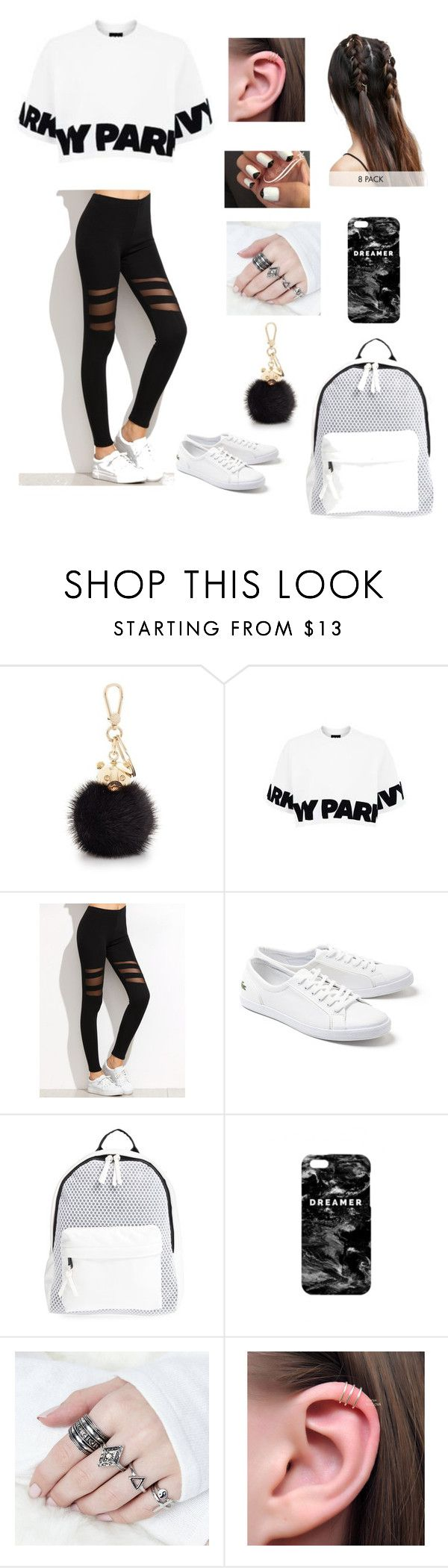 """black and white Ivy Park"" by leaelias ❤ liked on Polyvore featuring Furla, Topshop, Lacoste, Poverty Flats, Mr. Gugu & Miss Go and ASOS"