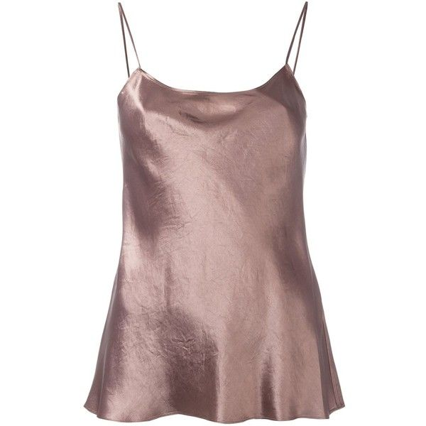 Vince metallic cami top (18.610 RUB) ❤ liked on Polyvore featuring tops, brown, brown tank, brown camisole, cami top, cami tank tops and vince tank top
