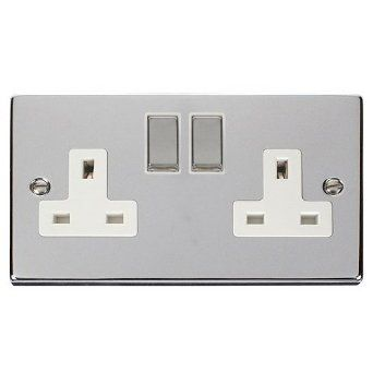 13A Double Plug Socket 2 Gang Polished Chrome Classic - White - Metal Rocker Switches