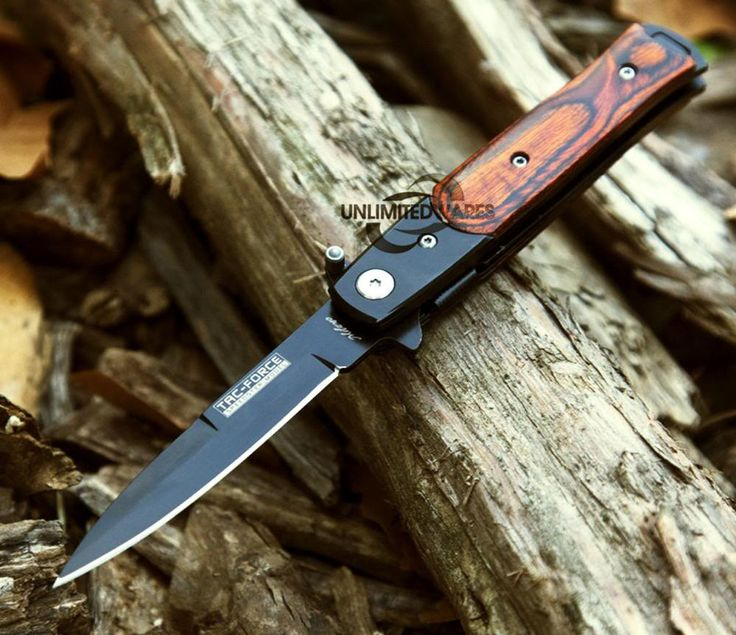 7 Quot Stiletto Wood Spring Assisted Folding Knife Open Pocket