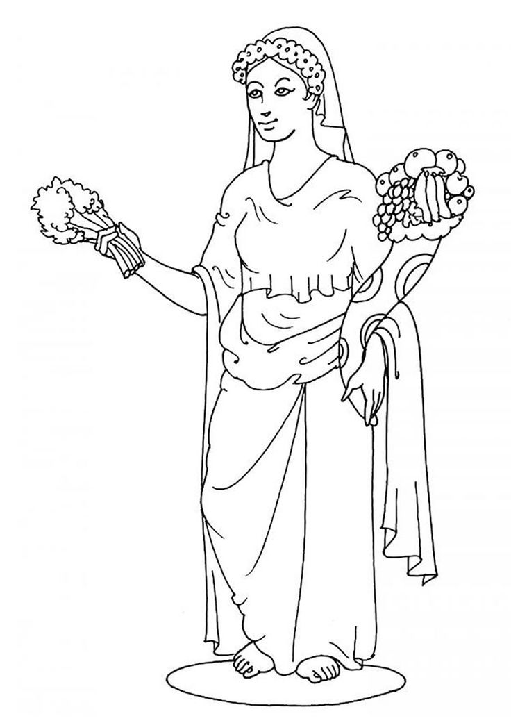 Greek goddesses coloring pages goddess demeter for Tomte coloring page